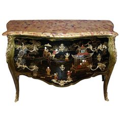 Early 20th Century Louis XV Style Commode at 1stdibs  note: contrasting marble/granite top -mjm