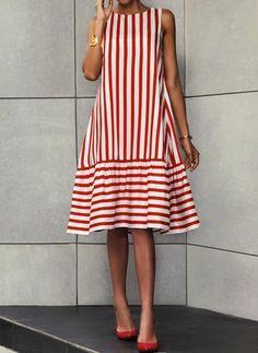 General Red Day Dresses Polyester Casual Round Neckline Spring Stripe Summer A-line Dress Sleeveless S M Knee-Length L XL Drop waist XXL Ruffles Dress Knee Length Dresses, Day Dresses, Dress Outfits, Fall Outfits, Casual Dresses, Summer Dresses, Ruffle Dress, Striped Dress, Look Fashion