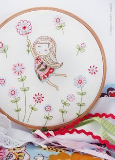 Embroidery Kit Embroidery design Girl in a Red by TamarNahirYanai