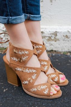 Tan Faux Suede Cut Out Floral Emproidered Peep Toe Heels