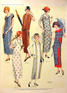 Designer Magazine fashions for June 1924, dropped waistline at hips, loose fit creating tubular shape, hemline at mid calf, cloche hats.