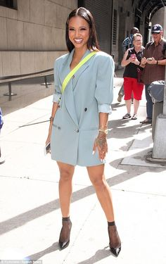 Dishing: Karrueche Tran looked lovely in a blue blazer dress as she stopped by The Wendy Williams Show in New York on Thursday where she spoke about ex Chris Brown Source by nellllllyz dress outfits Blazer Fashion, Fashion Outfits, Womens Fashion, Ladies Fashion, Blue Blazer Dress, Light Blue Blazers, Cute Outfits, Casual Outfits, Dress Outfits