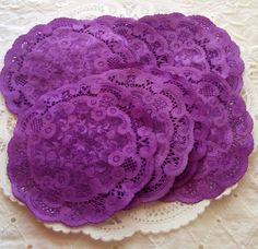 Paper Doilies Hand Dyed 4 Purple  French Lace by MailboxHappiness, $7.00