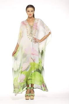 SPRINGTIME LOVE LONG LACE UP KAFTAN would be right at home in my closet & contribute to my happily caftenned camper status!