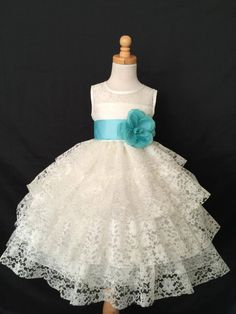 Ivory Floral Lace Flower Girl Bridesmaids by LittleGirlsWardrobe