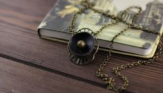 Necklace - pendant on a chain genuine leather Tibetan bead antique bronze Victorian style black pendant jewelry gift for her birthday gift by PrismaDesign on Etsy