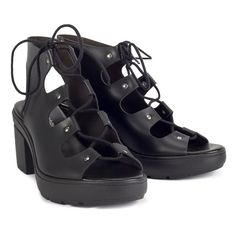802c297c15427 sandały damskie na obcasie ALTERCORE czarne (GRACE BLACK)