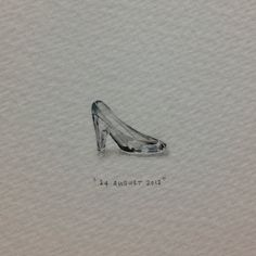 Day 236 : Cinderella's glass slipper (for a lover of shoes - Anette - from @lupusludens).  16 x 11 mm. #365paintingsforants #miniature #watercolour #cinderella #glass #slipper #shoes