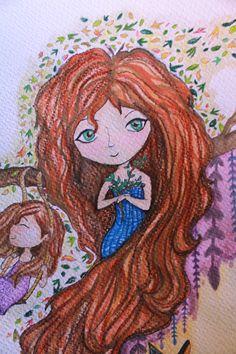 Personaje e ilustración conceptual para un minicuento de otoño. Técnica, lápiz de color.