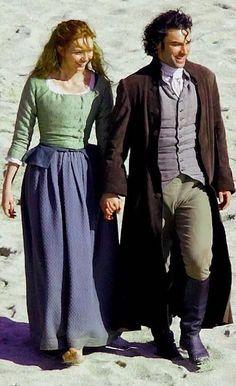 Eleanor Tomlinson as Demelza and Aidan Turner as Ross Poldark in the BBC series POLDARK.