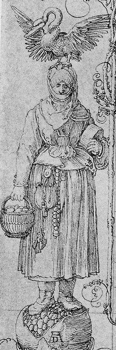 Albrecht Dürer, Randzeichnung aus dem Gebetsbuch des Kaiser Maximilians, heute: München, Staatsbibliothek (Auschnitt)