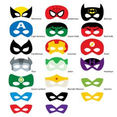 Photo Booth Props Superhero Masks DIGITAL DOWNLOAD by digital2u