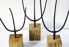 Set of Antique Pitch Forks on Stands