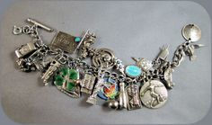 Vintage Sterling Charm Bracelet with 24 Charms