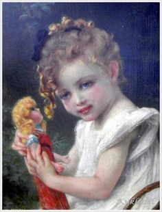 Manner of Guillaume Seignac (French, 1870-1924) «Young Girl with a Doll»