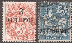 "1902-10 3c on 3c red orange & 25c on 25c blue Second surcharged issue during the ""French Offices in Morocco"" era The ""French Offices in Morocco"" era began in 1891 with an eight stamp ""Navigation and Commerce"" surcharged issue. Three are valued @ $3+. The next issue, illustrated above, had 12 stamps; six of them valued @ $1-$2+."