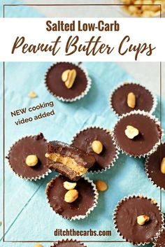 OMG - 2.8g net carbs - salted low-carb peanut butter cups AND there's a quick cooking video to watch so you can't mess these up. Seriously the best peanut butter cups out there. Low carb, sugar free, gluten free, grain free, healthy, keto. | ditchthecarbs.com via @ditchthecarbs