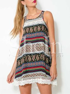 MultiColor Sleeveless With Lace Vintage Print Dress 13.99