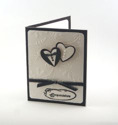 Wedding card, Black and White Wedding, Wedding Congratulations Card, 3d card, Bride and Groom, two Hearts, Wedding Wishes embossed card