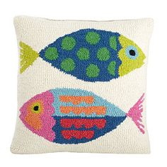 Calypso Fish Hand-Hooked Pillow Cover. theCompanystore.com