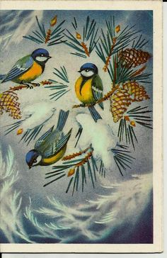 Titmouse Birds, Vintage Russian Postcard, Happy New Year, Christmas, Xmas, print 1988