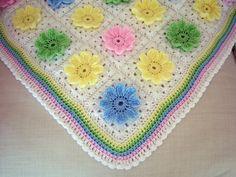 Pastel Daisy Blanket, free pattern by Angelfee.