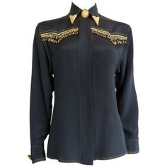 Preowned 1992 Gianni Versace Couture Beaded Silk Western Shirt (11.995.680 IDR) ❤ liked on Polyvore featuring tops, black, western shirts, oversized shirt, logo shirts, loose tops and loose fitting tops