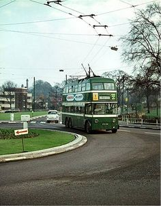 Trolleybus at the Gregory Boulevard and Sherwood Rise roundabout, Nottingham, c1965.