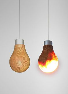 "cosascool: ""Wooden light bulb concept by product designer Ryosuke Fukusada "" Mood Light, Lamp Light, Light Up, Interior Lighting, Lighting Design, Contemporary Light Fixtures, Custom Lighting, Wood Design, Ceiling Lights"