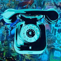 3Steps | Telephone Series | Telephone | Spraypaint | Silkscreen | Screenprint | HPM | contemporaryart | streetart | urbanart | mixedmedia | papercollage | art | colors | inspiration | car | shoes | women | skyscraper | watch