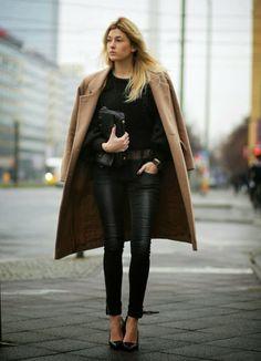 all black, camel coat