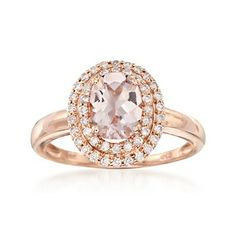 1.10 Carat Morganite and .31 ct. t.w. Diamond Ring in 14kt Rose Gold