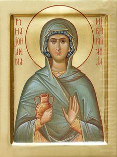 painted icon of holy myrrhbearer joanna Raphael Angel, Archangel Raphael, Paint Icon, Byzantine Icons, Religious Icons, Albrecht Durer, Orthodox Icons, Angel Art, Sacred Art