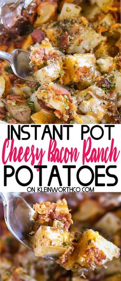 Cheesy Bacon Ranch Potatoes are a simple & easy to make slow cooker recipe. With just 5 minutes of prep, this cheesy potato goodness is great with dinner! Food Recipes For Dinner, Food Recipes Keto Best Pressure Cooker Recipes, Instant Pot Pressure Cooker, Slow Cooker Recipes, Crockpot Recipes, Chicken Recipes, Cooking Recipes, Healthy Recipes, Healthy Instapot Recipes, Pressure Cooker Potatoes