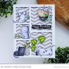 Spotted Cat, Cat Plants, Mft Stamps, Cat Cards, Trendy Wallpaper, Card Kit, Clear Stamps, Pattern Wallpaper, Invitation Design