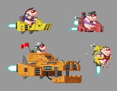 Enemy Pig Sprites from our 80s themed iOS game.