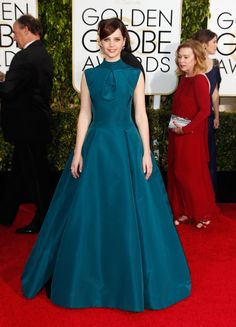 This gown is very covered up for the red carpet and I really respect that. Felicity Jones is solidifying herself as one to watch this season.  - ELLE.com