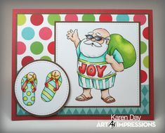 Art Impressions Rubber Stamps: 4788 – Tropical Christmas Handmade card. Santa