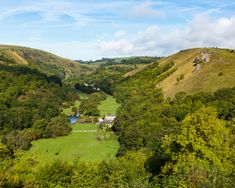 Monsal Dale and the River Wye seen from Monsal Head in the Peak District National Park  #blue #britain #british #dale #district #england #english #head #kingdom #landscape #monsal #mountain #national #outdoors #park #peak #river #scenic #sky #uk #united #valley #water #wye