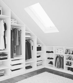 The Best Simple Attic Storage Room Ideas Attic Master Bedroom, Attic Bedroom Designs, Attic Design, Attic Rooms, Attic Spaces, Closet Bedroom, Diy Bedroom, Small Spaces, Bedroom Storage Ideas For Clothes
