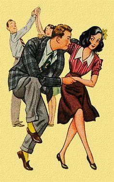 Vintage Swing Illustration, c. Lindy Hop, Baile Charleston, Swing Dancing, Shall We Dance, Lets Dance, Bailar Swing, Mode Vintage, Retro Vintage, Poster