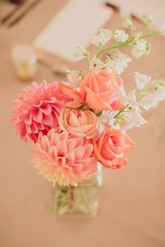 pink dahlia wedding centerpiece