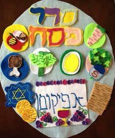 Keeps kids entertained at seder with a felt seder plate. Could also do this for plagues, sections of magid, etc.