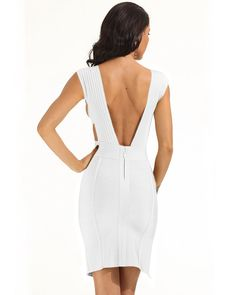 91ebef79aa9 Whoinshop Women Deep V Neck Backless Side Slit Bodycon Bandage Dress White  M     Read more at the image link.