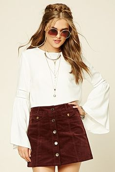 FOREVER21 Women's  Chocolate Corduroy Button-Front Skirt | FOREVER 21 saved by #ShoppingIS