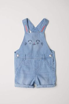 Kidscool Space Baby Kids 2 Dinosaurs Embroidered Snap Legs Denim Overalls