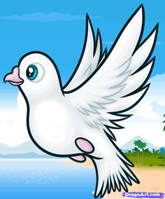 how to draw doves for kids