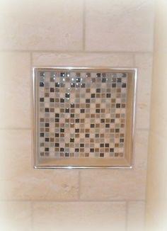 Tiled Shower Niche with Schluter Trim New Bathroom Ideas, Bathroom Tile Designs, Bathroom Renos, Bath Ideas, Schluter Tile Edge, Schluter Shower, Tile Shower Niche, Shower Tub, Tile Trim