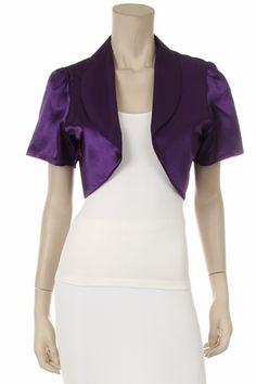 Purple Short Sleeve Bolero Jacket Satin Purple Shrug Bolero Jacket $39.99
