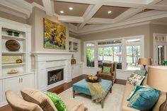 Designer Builders - Aiken SC - Nandina diagonal hitchcock, blue and green, white wood fireplace surround